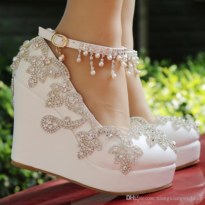Chaussures de mariée mariage talon compensé boucle boucle cristal chaussures à talons hauts strass perle étincelant chaussures de princesse