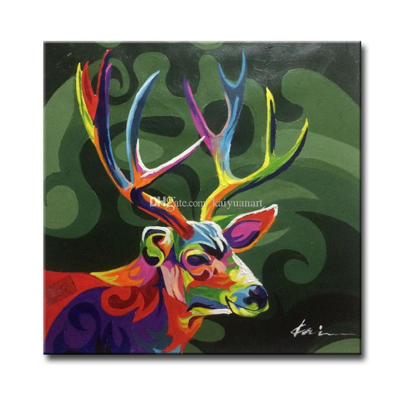 2018 Framed Hand Painted Abstract Sika Deer Animal Picture Art ...