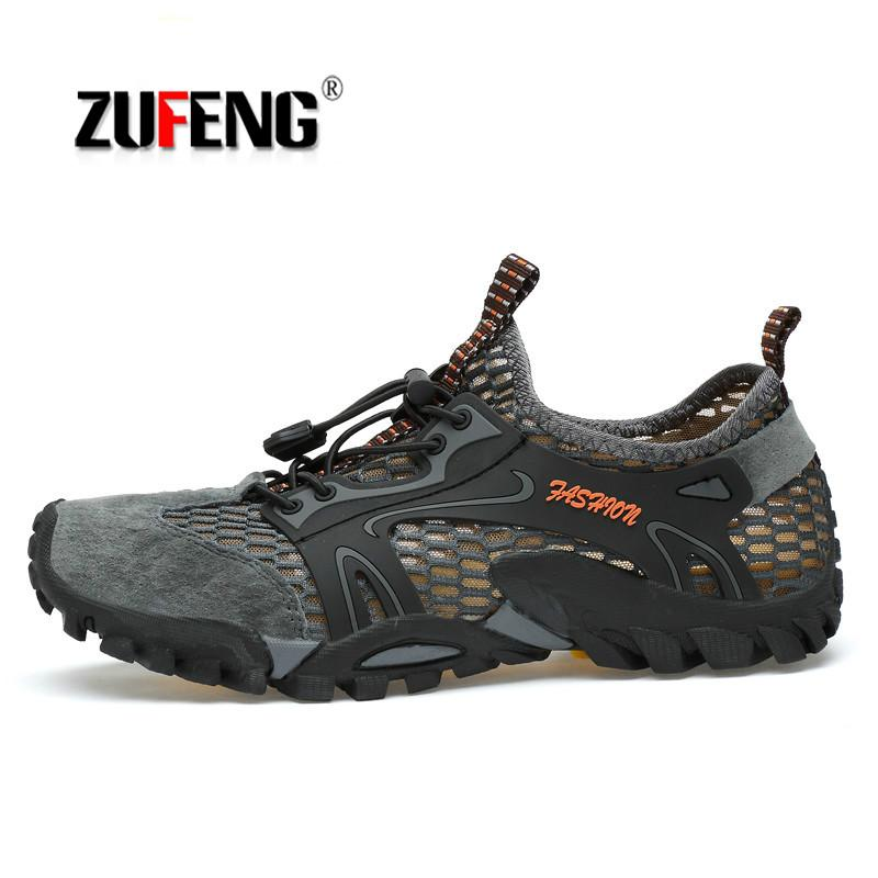 69202b9fd17 ZUFENG Summer Men Hiking Shoes Outdoor Climbing Anti-skid Wear Resistant  Trekking Boots Breathable Mesh Walking Shoes