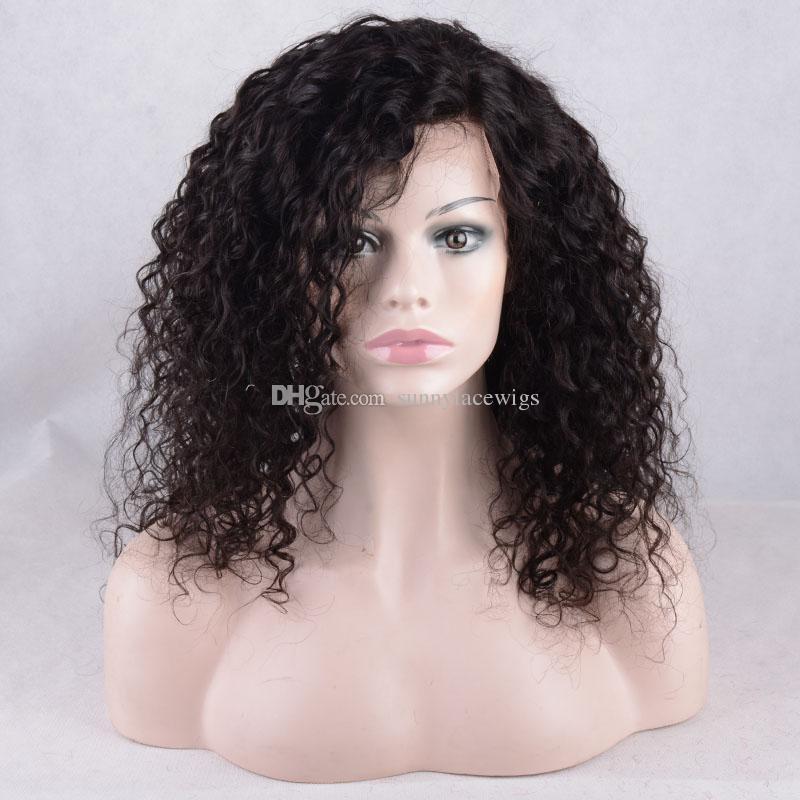 Parte dianteira do laço perucas de cabelo humano com linha fina pré arrancada onda profunda perucas cheias do laço para as mulheres negras kinky encaracolado com cabelo do bebê