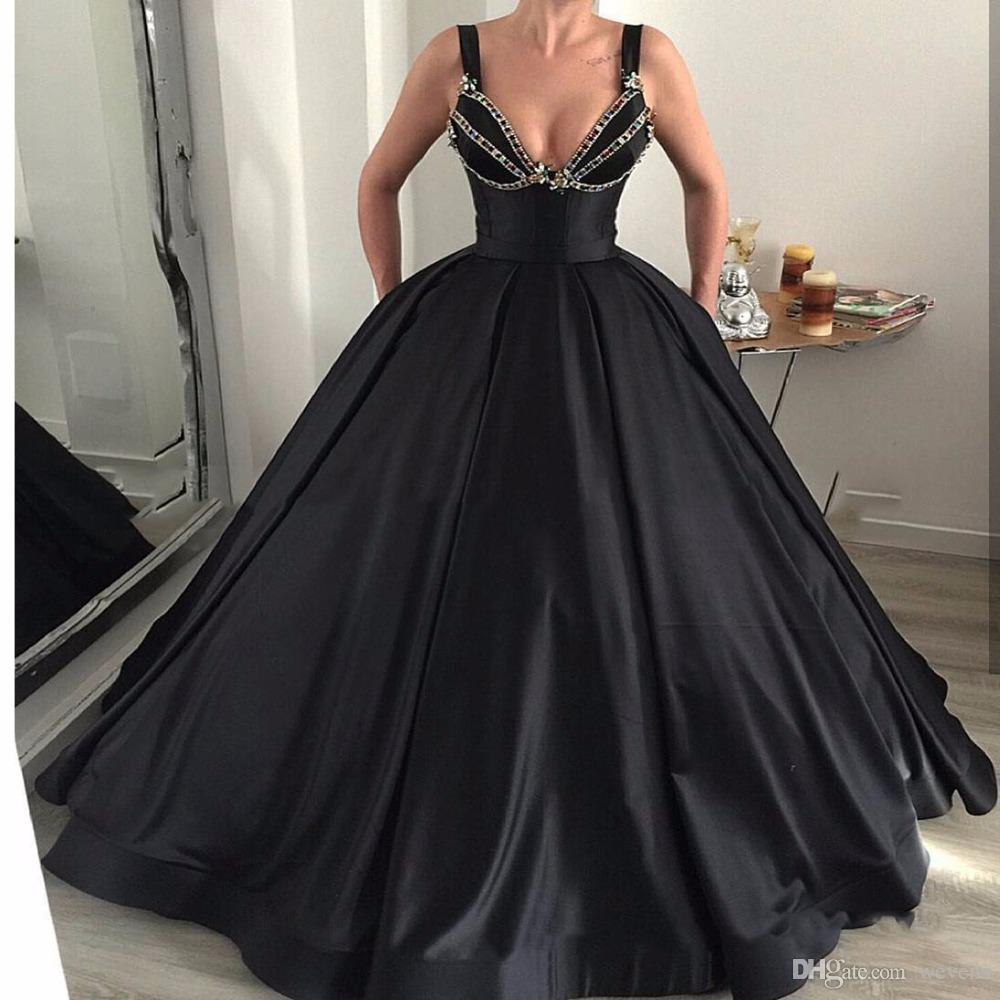Designer Black Ball Gown Prom Dress Spaghetti Strap Rhinestone ...