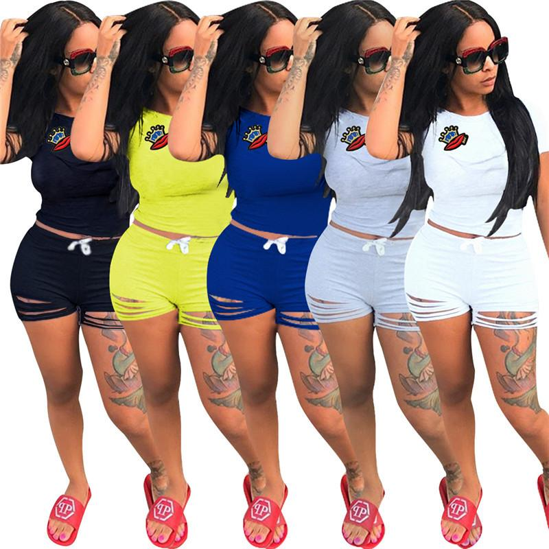 938f59cc1da 2019 Women Summer Casual Shorts Tracksuit Crown   Lip Gloss Crop Top  Sweatshirt With Ripped Hole Shorts Pants Outfits Girls GYM Jogger Suit From  ...