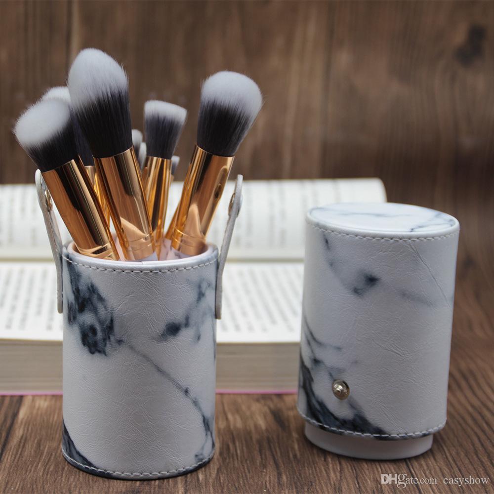 La più nuova spazzola calda di trucco di marmo di vendita calda Spazzola professionale di trucco Spazzole Fondazione BB Qualità di Hiqh con il secchio dell'unità di elaborazione DHL LIBERO