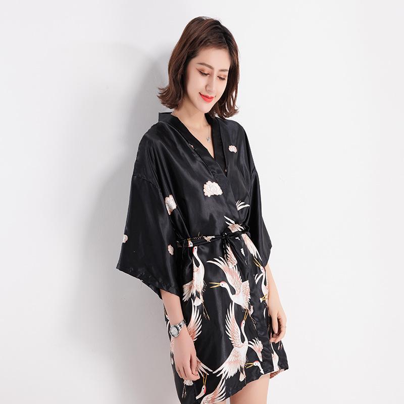 f36b4529bd5b 2019 Summer New Women Robe Hot Sale Summer Kimono Bathrobe Gown Female Grey  Sexy Sleepwear Lady Sexy Nightgown Print Nightwear From Beatricl