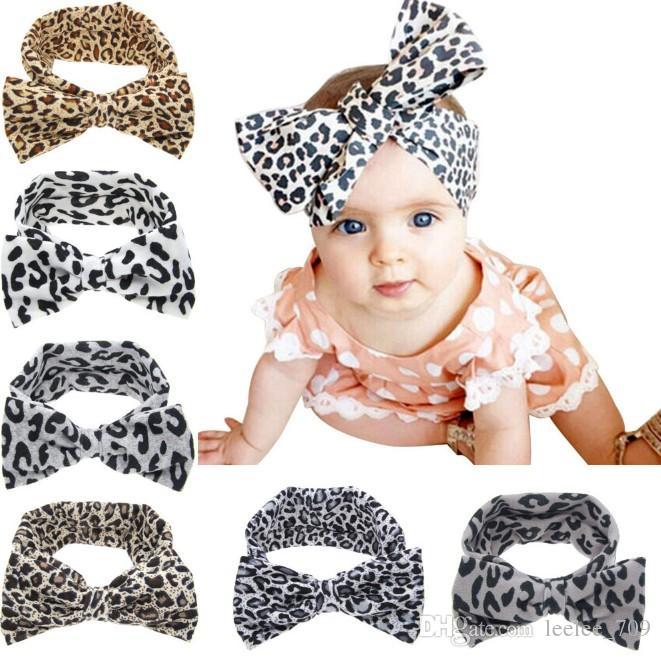 New Baby Girls Leopard Bow Elastic Cotton Headbands Kids Children Big Bowknot Hair Accessories Dot Hairbands for Girls KHA391
