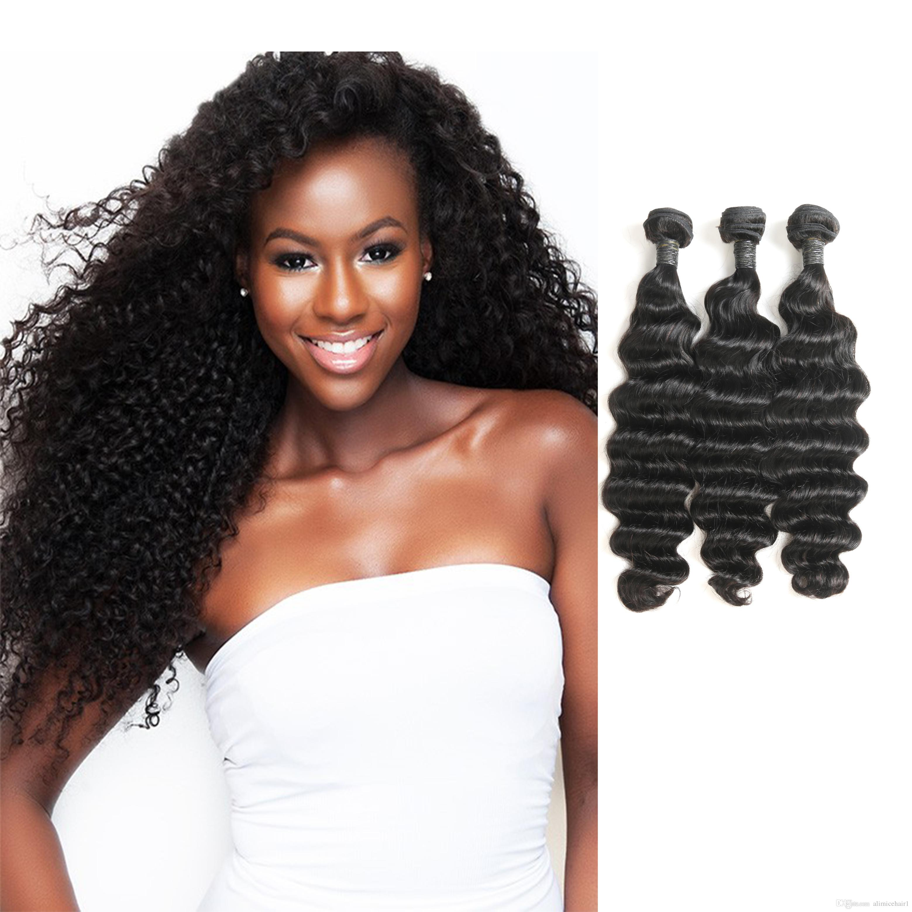 Peruvian Loose Deep Hair Weaves 3 Bundle With Closure Natural Color Loose Curly Ocean Wave Human Hair Free Middle 3 Part Closure Fine Craftsmanship Hair Extensions & Wigs