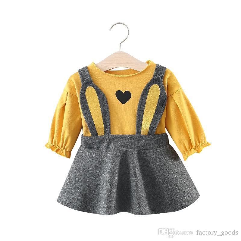 Compre Ins Niñas Pullover Falda Corta 2 Unids Conjuntos De Algodón De Manga  Larga Tops Con Tirantes Faldas Lindo Corazón Impreso Para Niños Otoño Ropa  B100 ... f33da3e9f3bf