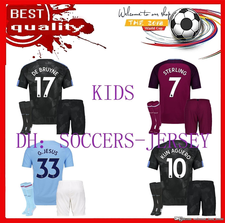 e75f6056a discount code for 17 18 kids man city home kun aguero soccer jersey kits  sterling walker