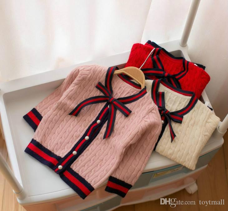 b1186bd53 Girls Sweater Cardigan Designer Kids Stripe Lace-up Bows Tie ...