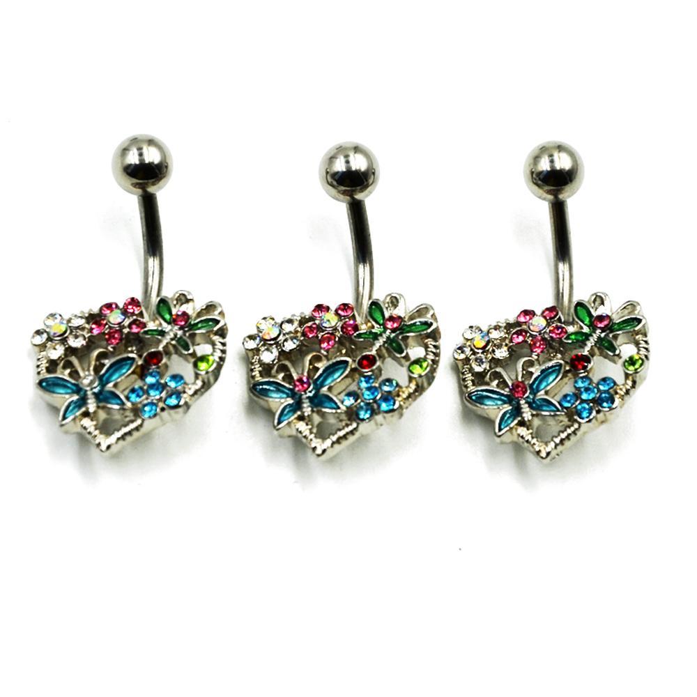 En Acier Inoxydable Papillon Fleur sur Coeur Nombril Anneaux Piercing Multi Gem nombril du ventre Bar Corps Bijoux 14g