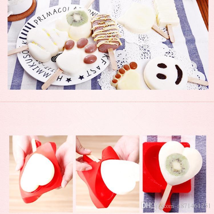 Silicone Creative Homemade Ice cream Popsicle Mold Cartoon DIY Ice Cream Cake Mold Kitchen tools