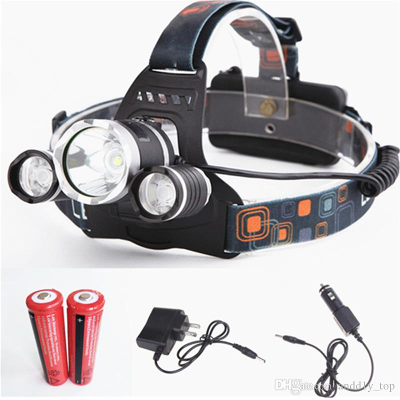 New CREE XML T6+2R5 LED Headlight Headlamp Head Lamp Light 4mode torch +2x18650 battery+EU/US Car charger for fishing Lights