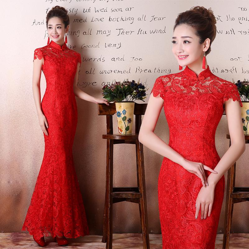 Fishtail Red Lace Bride Chinese Traditional Wedding Dress Long Women Cheongsam Silm Eveing Party Qipao Formal Dress Mermaid Gown