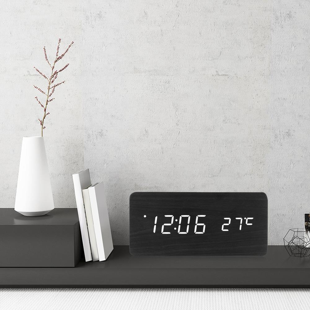 5b08c4e0631 Compre Led Digital Despertador De Madeira Relógio Multifuncional Tempo De  Temperatura Calendário Exibição Modern Home Decor Relógios Eletrônicos De  Herbertw ...