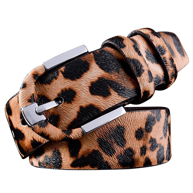 fe9d5088fa 6PCS/LOT SINGYOU Leopard Print Women Men Genuine Leather Belt Fashion  Casual Pin Buckle Belt Female Jeans Accessories
