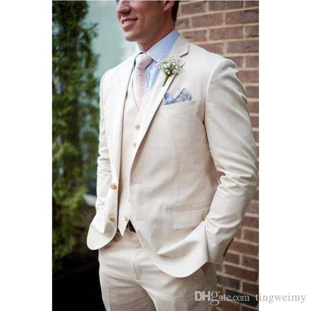 3042752e0629 Custom Made Beige Linen Beach Wedding Suits For Men Slim Fit Groom Tuxedos  Prom Men Suits Jacket+Pants+Vest Tuxes White Linen Suit From Tingweimy