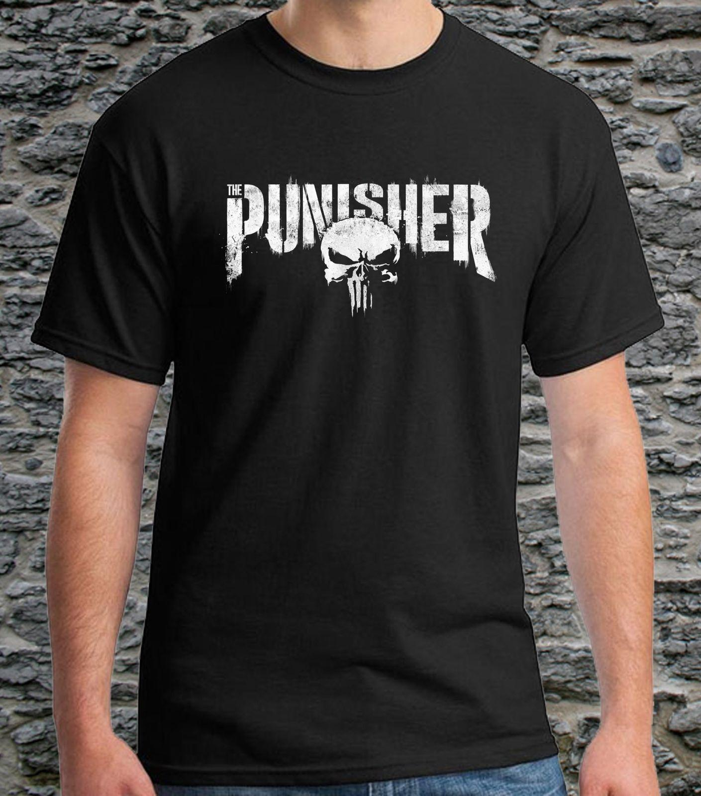 7d29ea51a Black T-shirts The Punisher Marvel Logo Men's Tee Size S to 3XL