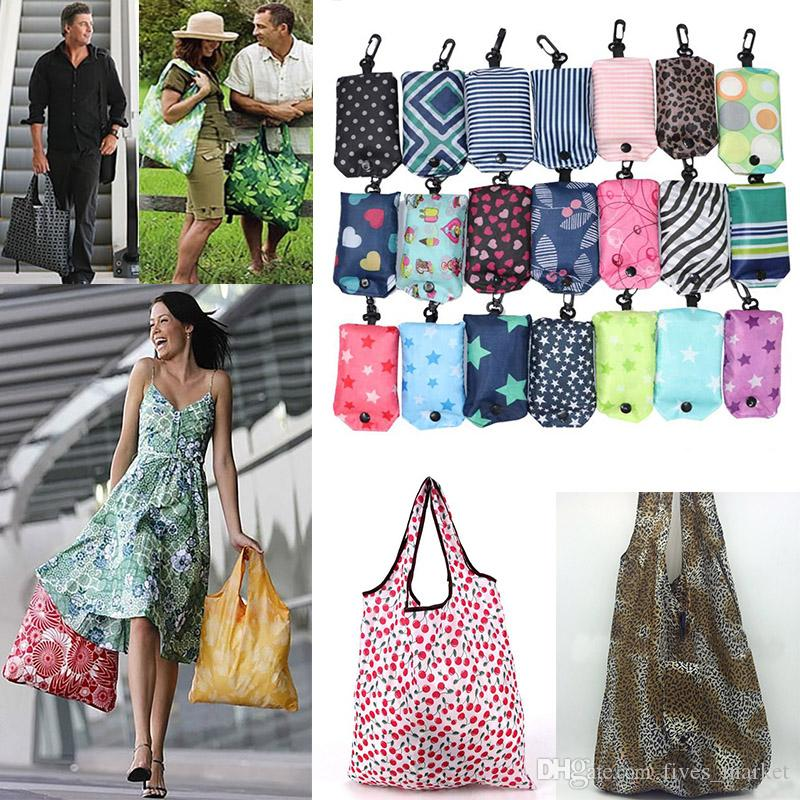 2019 Nylon Foldable Shopping Bags Reusable Storage Bag Eco Friendly Shopping Bags Tote Bags Free Shipping FTY7-315