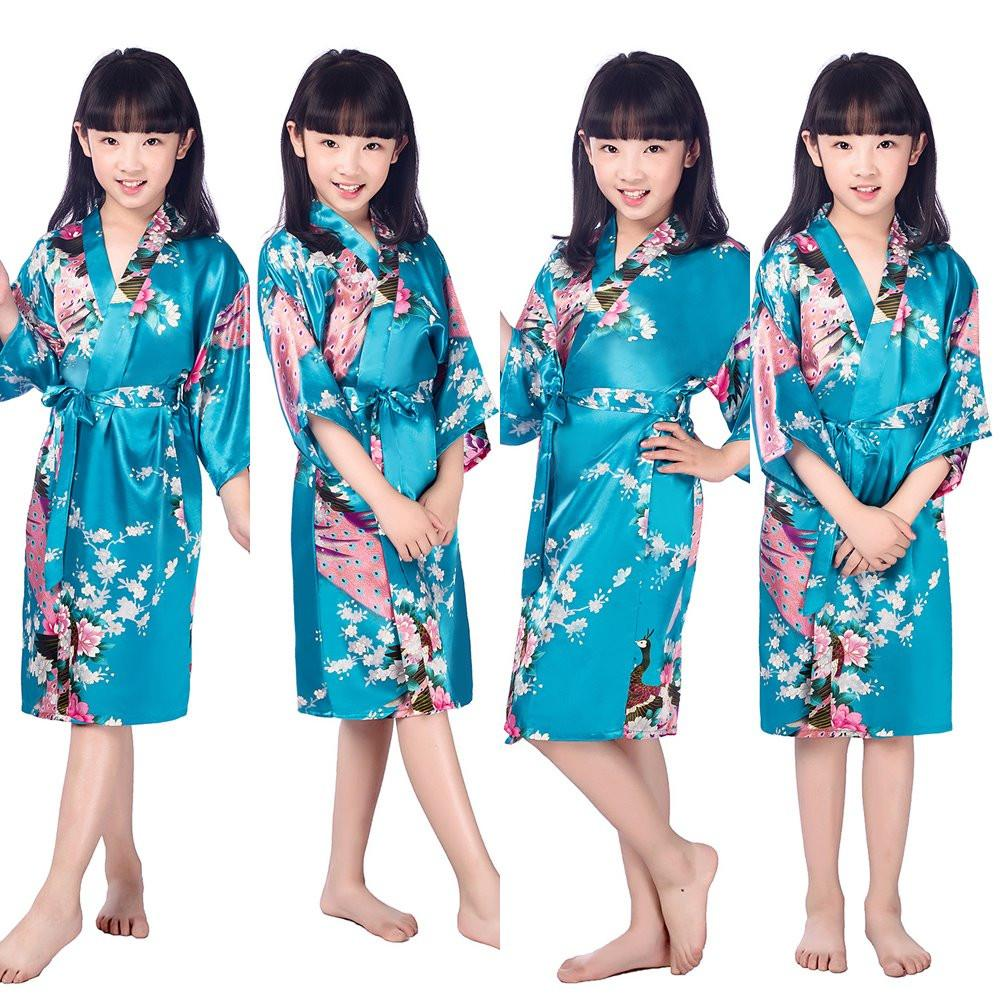 4cc02c981 2019 Lovely Peacock Kids Robe Satin Children Kimono Robes Bridesmaid ...