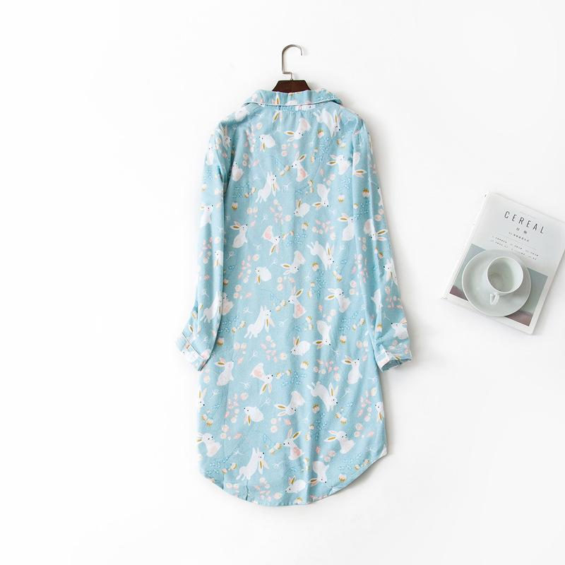 0f4a112ee1 2019 Ladies Keep Warm Print Sleepwear Long Sleeve Cotton Female Pajama  Nightdress Loose Comfortable Girls Nightgown Homewear Button From Qingchung