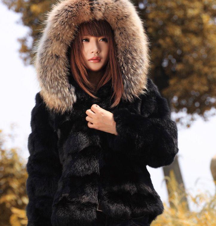 638baf19fe735 2019 S 4XL Womens Black Real Rabbit Fur Furry Coats Peacoat Parka Thicken  Warm Winter Outwear Luxury Plus Size From Weilad