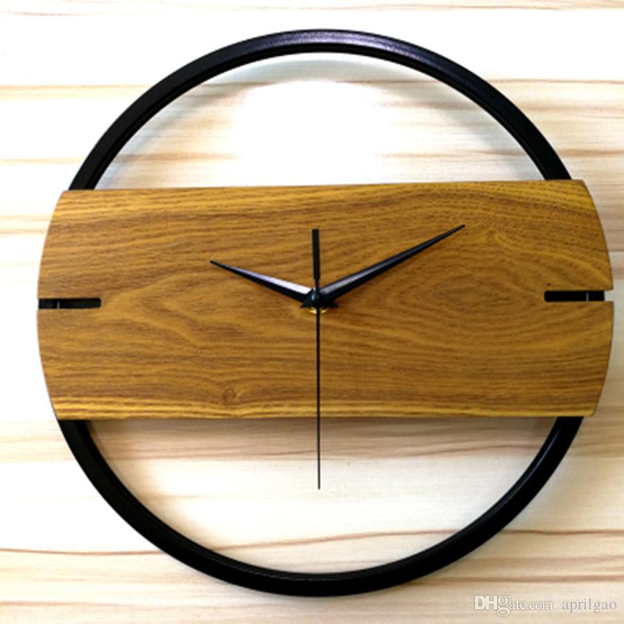 Großhandel Elegante Nordic Runde Holz Wanduhr Kreative Stille Wohnzimmer  Uhren Moderne Designhorloge Maison Moderne Dekoration 50wc233 Von Aprilgao,  ...