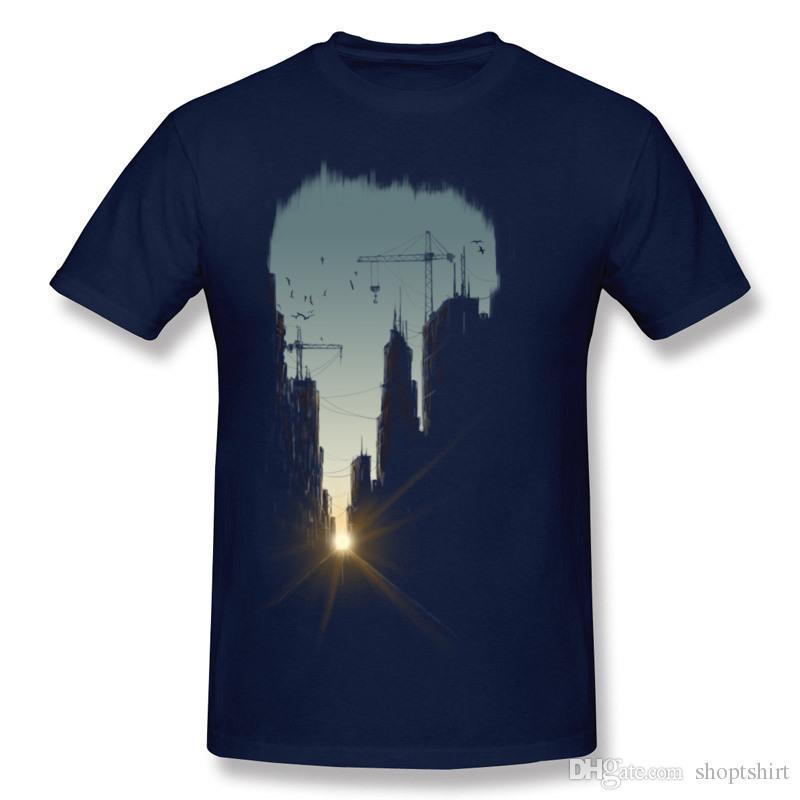 Newest Man Cotton Fabric Concrete Jungle T Shirts Man Round Collar Dark Blue Short Sleeve T-Shirt S-6XL Casual T Shirts