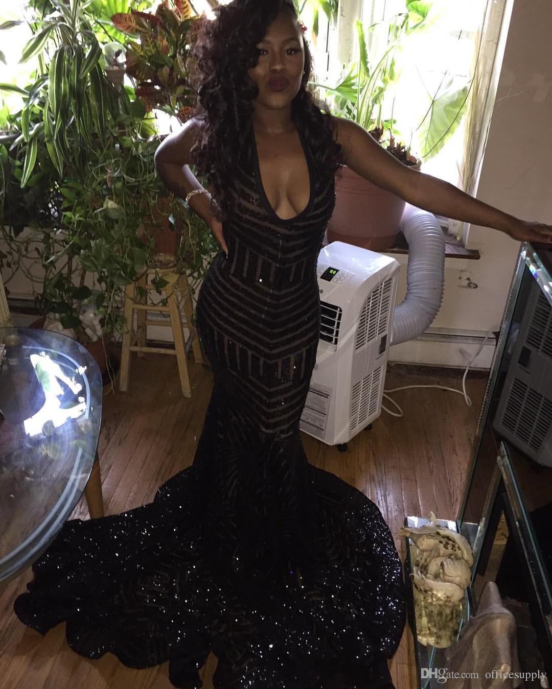 2018 Sparkly Gelinlik modelleri Backless Mermaid Kılıf Gömme Siyah Pullu Scoop Örgün Akşam Uzun Kadın Elbiseleri