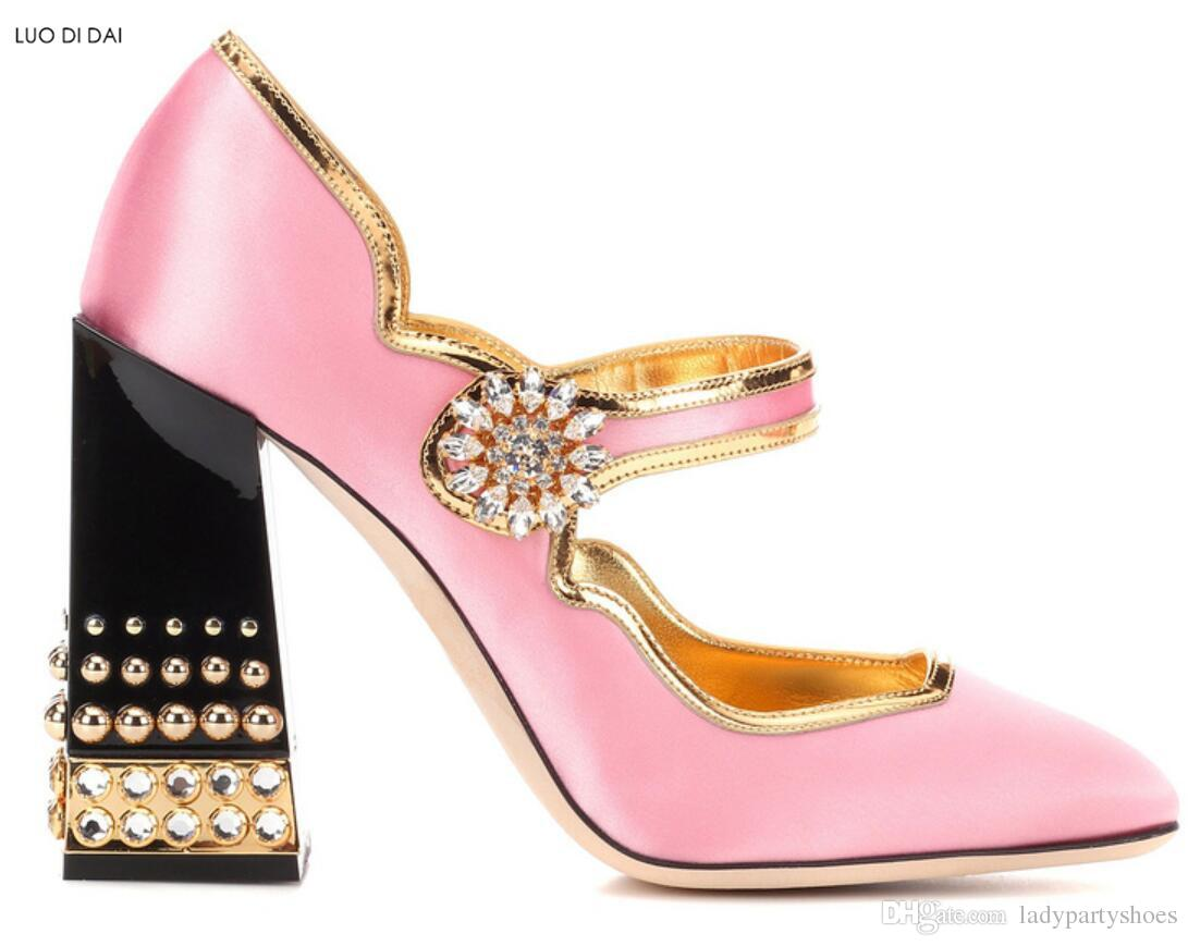 2018 New women pink high heels chunky heel diamond pumps party shoes spike stud pumps dress shoes wedding shoes rivets pumps