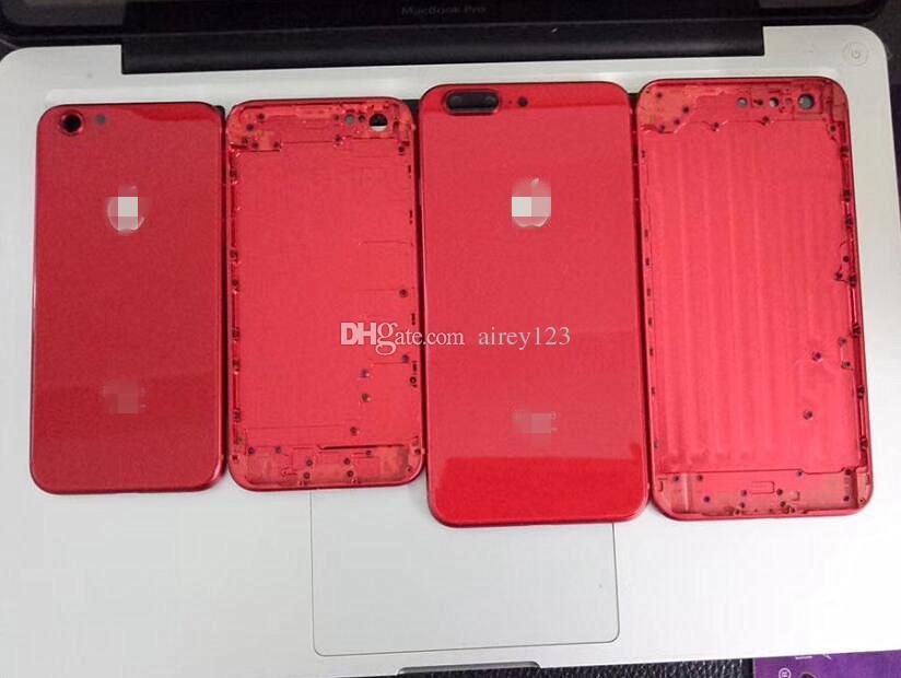 iPhone 8 Stil Metal Cam Pil Kapı Tam Kırmızı Siyah Arka Kapak Beğen iPhone 6 6S 7 Artı Geri Konut 8+