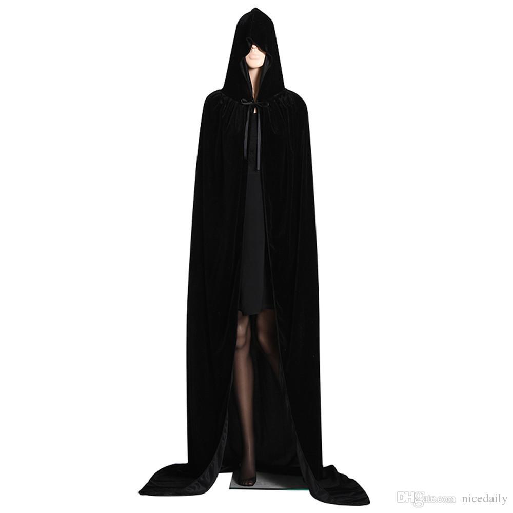 0299801355 2019 Party Supply Unisex Full Length Hooded Cloak Long Velvet Cape For Halloween  Christmas Fancy Cape Cosplay Costume For Women Men Wholesale From Nicedaily  ...