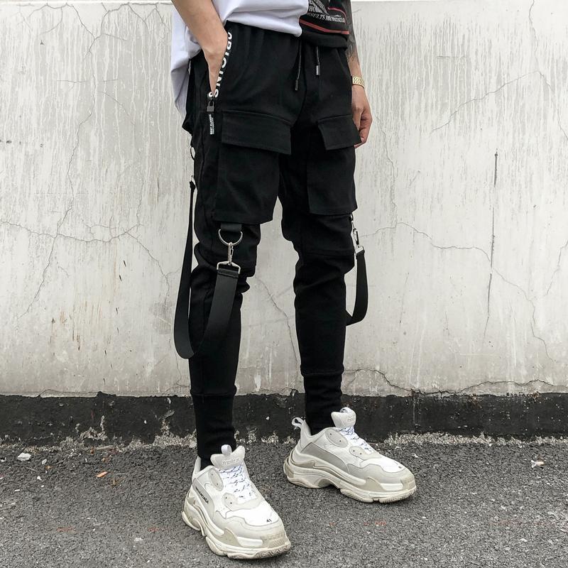 f7a8dbd421278 Compre Streetwear Pantalones Harem Negros Hombres Cintura Elástica  Pantalones Punk Con Cintas Casual Slim Jogger Hombres Hip Hop Pantalones A   39.01 Del ...