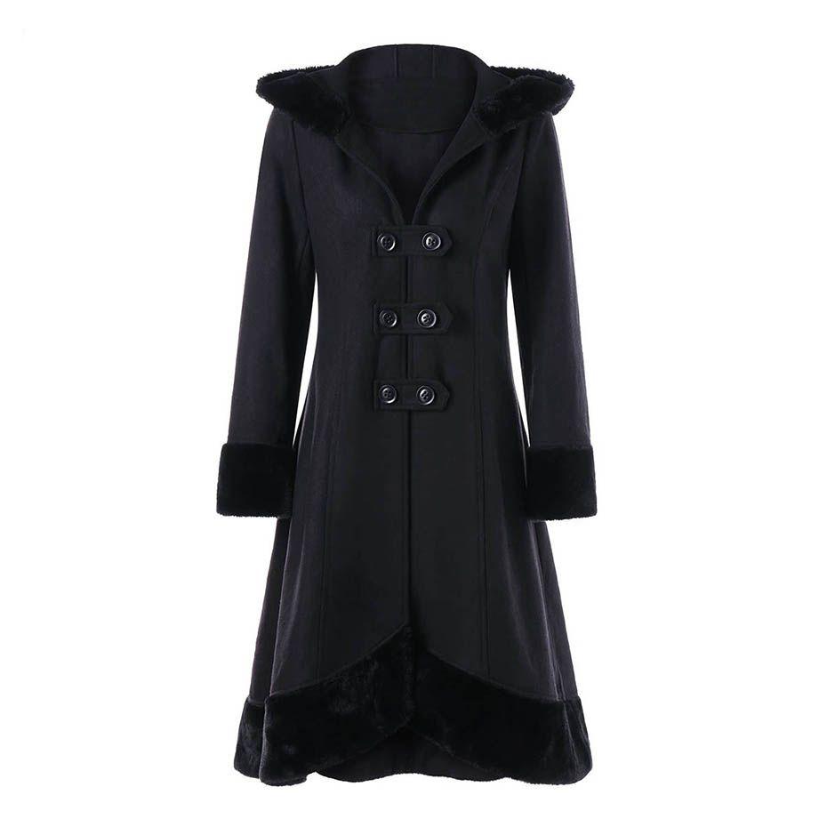 7b9b27e241c 2019 Hooded Women Coat Winter Faux Fur Warm Outwear Lace Up Mid Long Coat  Black Double Breasted Plus Size 2XL Wool Long Coat Women From Boniee, ...
