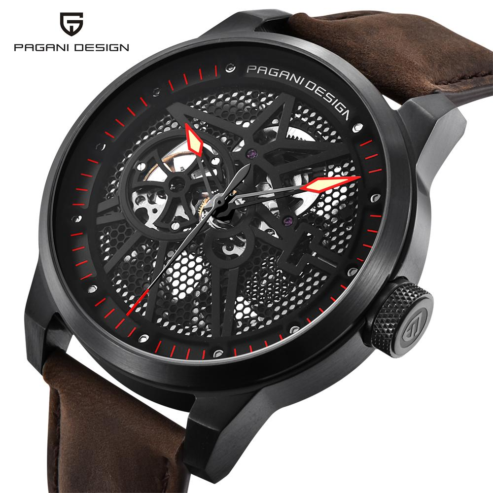 Watches Mechanical Watches Special Section Cool Skeleton Men Watches Mechanical Self-winding Real Leather Wrist Watch Luxury Crystals Dress Watch Hollow Automatic Relogios The Latest Fashion