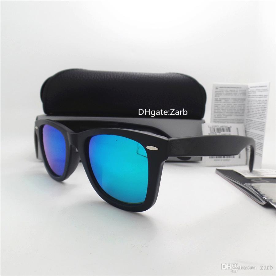 Luxury Glass Lens Men Women Sunglasses UV400 Plank Frame Hinge Eyewear 52MM Fashion Vintage Tint Eyeglass Test Side Mirror With Box Case
