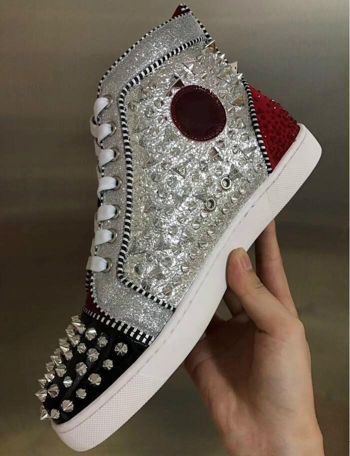 ae54a3496d8e 2018 Original Vogue New Graffiti Red Bottom Sneakers For Men Women Luxury  Designer With Rhinestones Rantus Orlato Flat Mens Shoes Leisure Tr Dress  Shoes ...