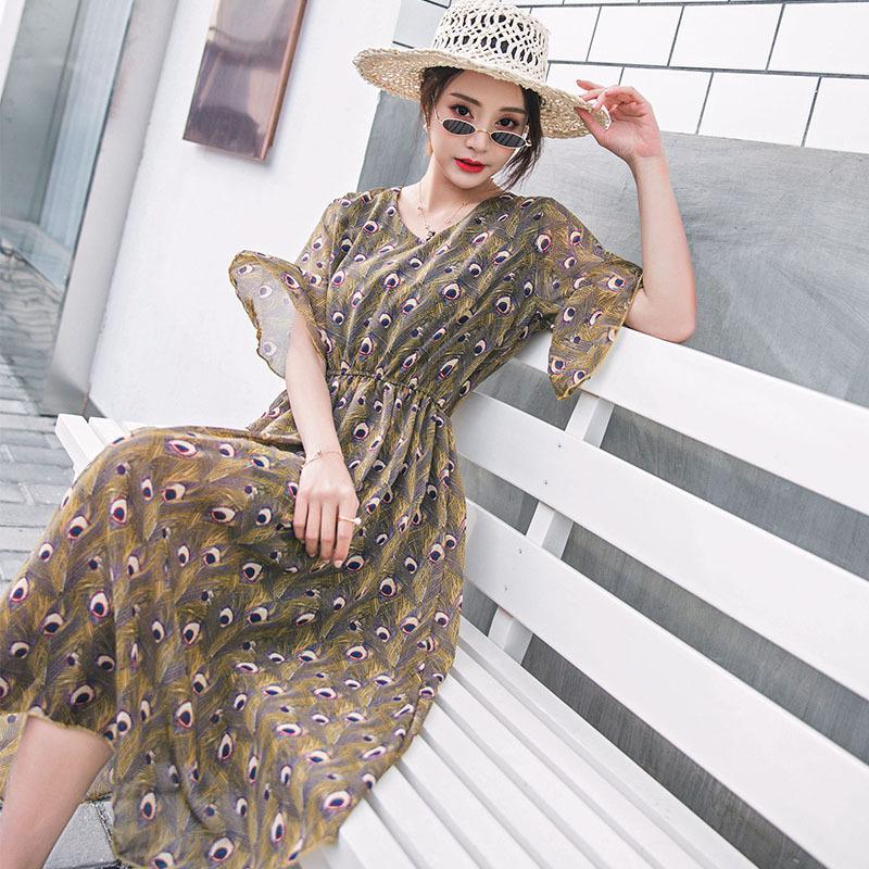Real Time Yes Video Lotus Leaf Edge Peacock Feather Printing Chiffon Skirt On Vacation Seaside Sandy Beach Summer Dress Woman