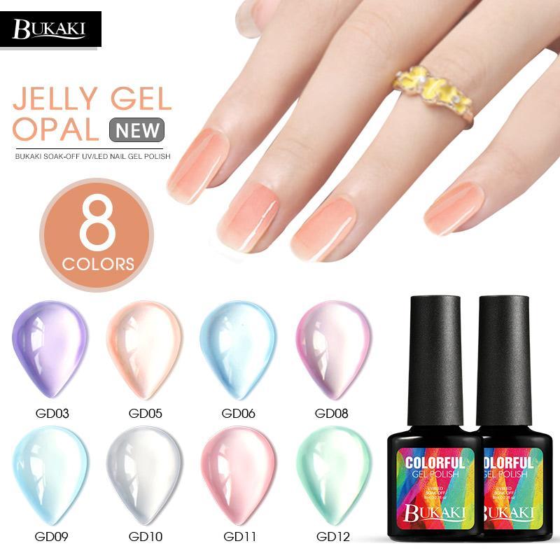 BUKAKI Opal Jelly Gel Nail Polish Soak Off Nail Art Tips Design UV LED Gel Varnish Semi Permanent Lacquer Vernis Pink Nail Gel Xl Nail Gel From Justinbk, ...
