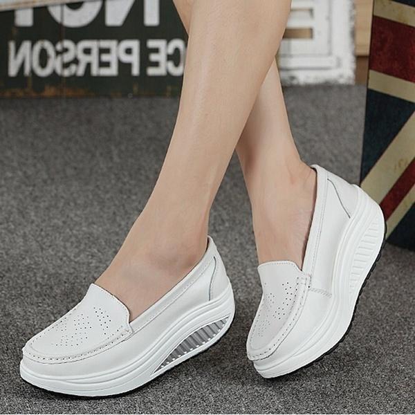 Популярная летняя натуральная кожаная женская обувь Медсестра Swing Work  Single Shoes Wedges Platform Shoes 168e8820f50