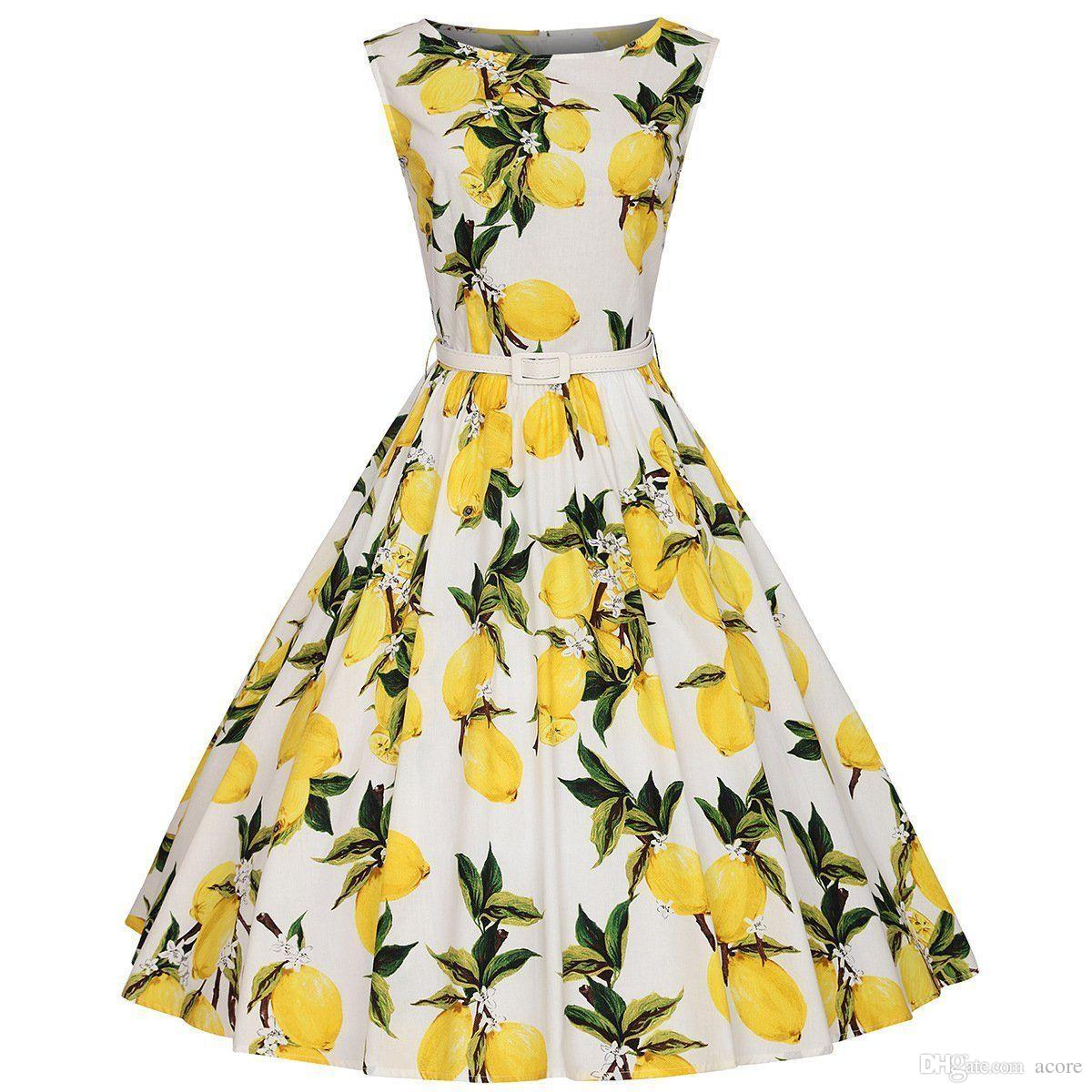 661fb173f3536 Vintage Women Summer Dresses 50s 60s Lemon Print Party Swing Dresses Midi  Rockabilly Pinup Vestido Plus Size Casual Dress Chiffon Dresses From Acore,  ...