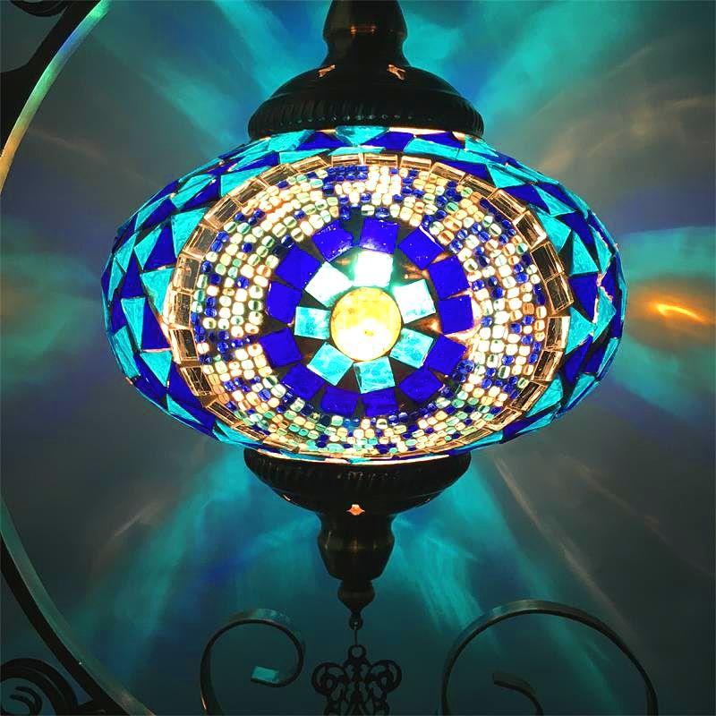 레트로 민속 스타일 달 낭만적 인 침실 거실 카페 레스토랑 호텔 수제 모자이크 유리 터키어 램프