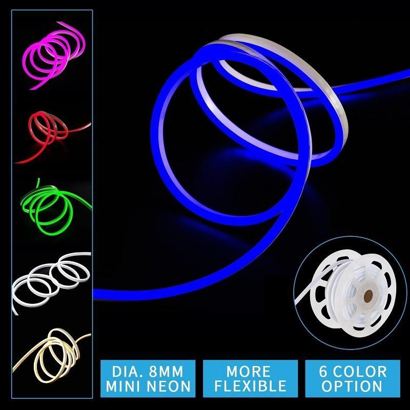 Neon LED Şerit Flex Halat Işık Su Geçirmez IP68 Mini LED Bant 220 V 110 V TV Dış Aydınlatma Için Dimmer Esnek Şerit