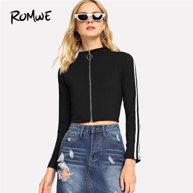 30992d6482f397 ROMWE Black Striped Tape Side Zip Up Crop Tee Women Casual Stand Collar  Long Sleeve Top Female 2018 Autumn Pullovers T Shirt Shirt T Shirt Funny T  Shirts ...