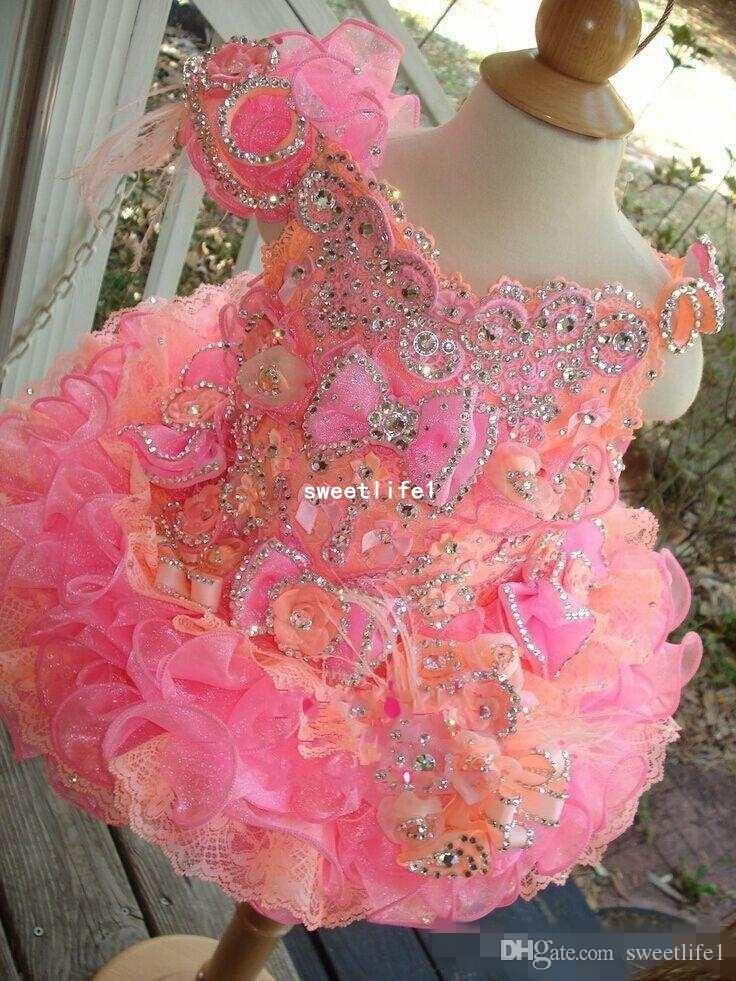 Cupcake Flower Girls Dresses For Wedding 2019 Cute Off The Shoulder Sequins Crystal Short Mini Formal Girl's Pageant Dresses Custom Made
