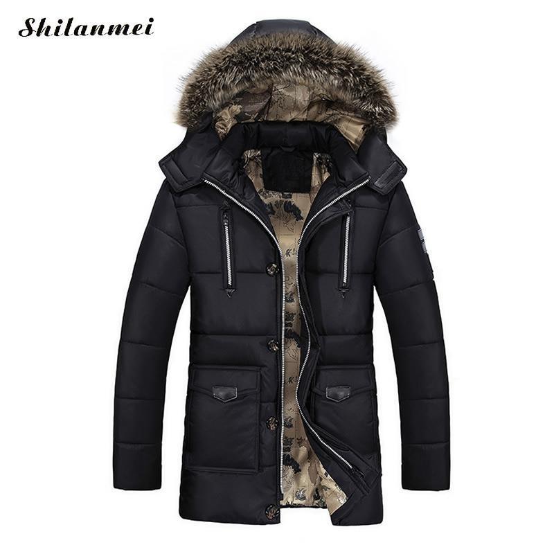 Army Green Down Parkas Jackets 2017 Men's Warm Hooded Coat Male Fur Collar Parkas Winter Male Jacket Men Military Down Overcoat