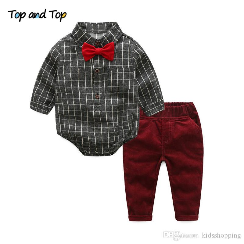95cb17b85 Compre TOP E TOP Bebê Menino Roupas Conjuntos De Roupas Recém Nascido  Broadcloth Algodão Cavalheiro Moda Xadrez Macacão + Jeans 2 Pçs   Set De  Kidsshopping