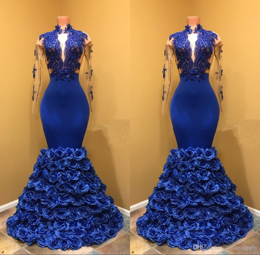 2018 Royal Blue Mermaid Prom Dresses With Rose Floral Flowers Sheer