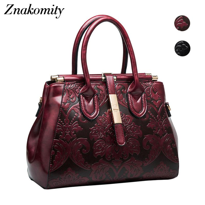 Znakomity Vintage Style Genuine Leather Bag Embossed Handbags Female Retro  Embossing Flower Hand Bag For Women Shoulder Tote Bag Mens Leather Bags  Italian ... 8fde663d9e