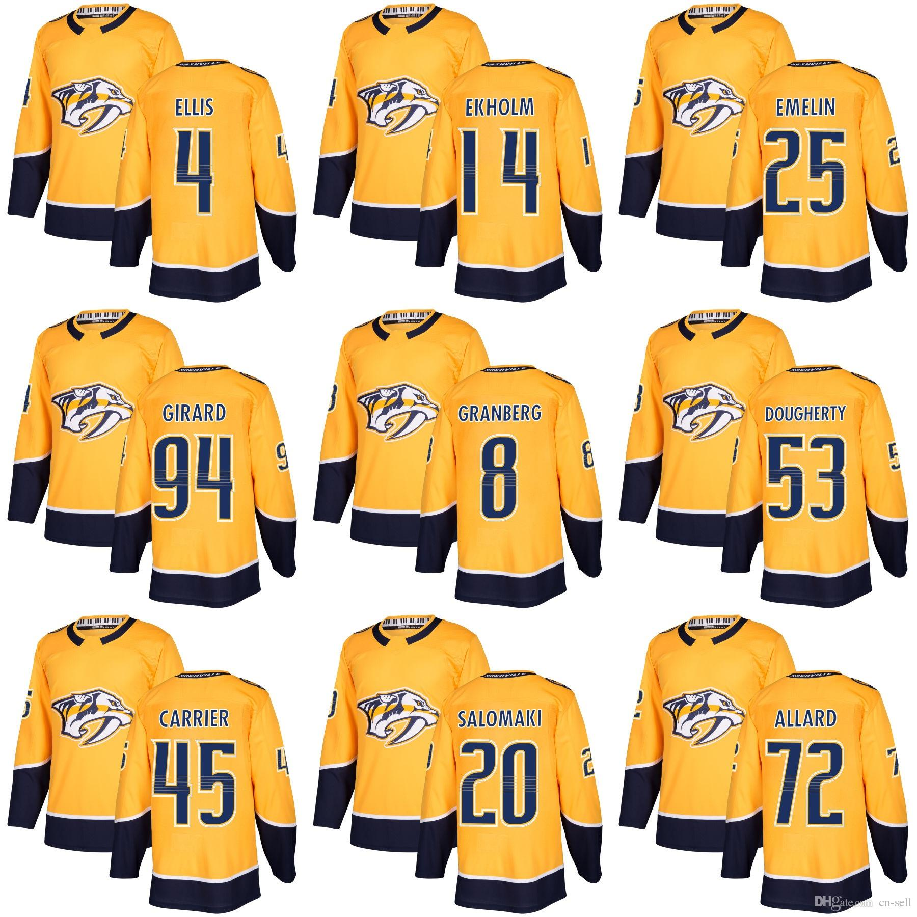 2019 Jack Dougherty Hockey Jerseys 2018 Nashville Predators Mens Mattias  Ekholm 4 Ryan Ellis 25 Alexei Emelin 94 Samuel Girard Gold Home Jersey From  Cn Sell ... 758c815dc
