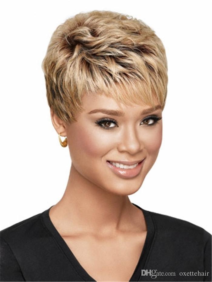 Braun Zu Blond Ombre Farbe Kurze Haare Perucke Mit Knall Hitzebestandige Faser Synthetische Perucke Capless Mode Perucke Fur Frauen